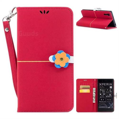 Red Gold Velvet Smooth PU Leather Wallet Case for Sony Xperia XZ XZs