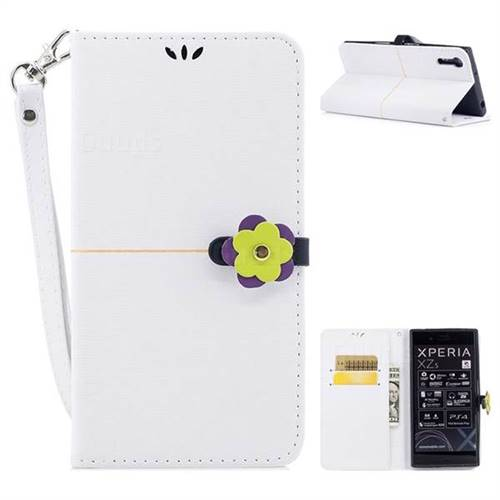 White Gold Velvet Smooth PU Leather Wallet Case for Sony Xperia XZ XZs