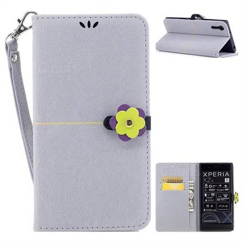 Grey Gold Velvet Smooth PU Leather Wallet Case for Sony Xperia XZ XZs
