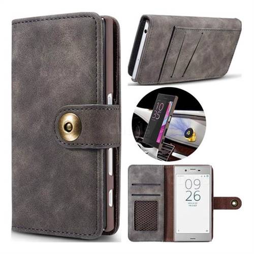 Luxury Vintage Split Separated Leather Wallet Case for Sony Xperia XZ XZs - Black