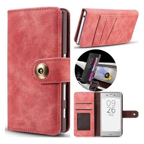 Luxury Vintage Split Separated Leather Wallet Case for Sony Xperia XZ XZs - Carmine