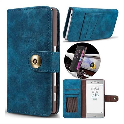 Luxury Vintage Split Separated Leather Wallet Case for Sony Xperia XZ XZs - Navy Blue