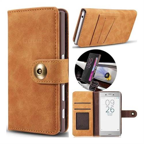 Luxury Vintage Split Separated Leather Wallet Case for Sony Xperia XZ XZs - Khaki