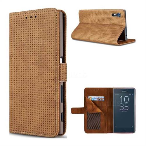 Luxury Vintage Mesh Monternet Leather Wallet Case for Sony Xperia XZ XZs - Brown