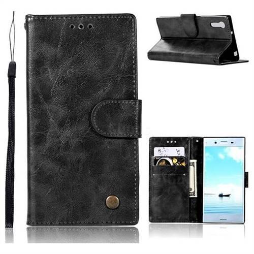 Luxury Retro Leather Wallet Case for Sony Xperia XZ XZs - Black