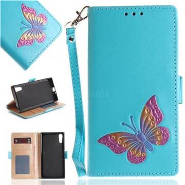 Imprint Embossing Butterfly Leather Wallet Case for Sony Xperia XZ XZs - Sky Blue