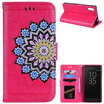 Datura Flowers Flash Powder Leather Wallet Holster Case for Sony Xperia XZ XZs - Rose