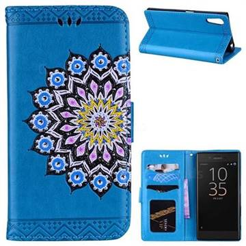 Datura Flowers Flash Powder Leather Wallet Holster Case for Sony Xperia XZ XZs - Blue