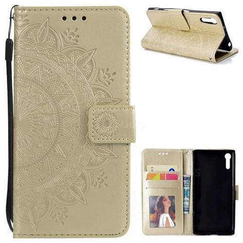 Intricate Embossing Datura Leather Wallet Case for Sony Xperia XZ XZs - Golden