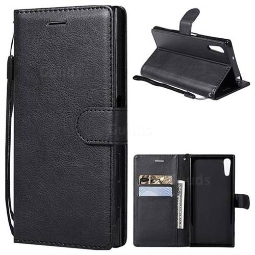 Retro Greek Classic Smooth PU Leather Wallet Phone Case for Sony Xperia XZ XZs - Black