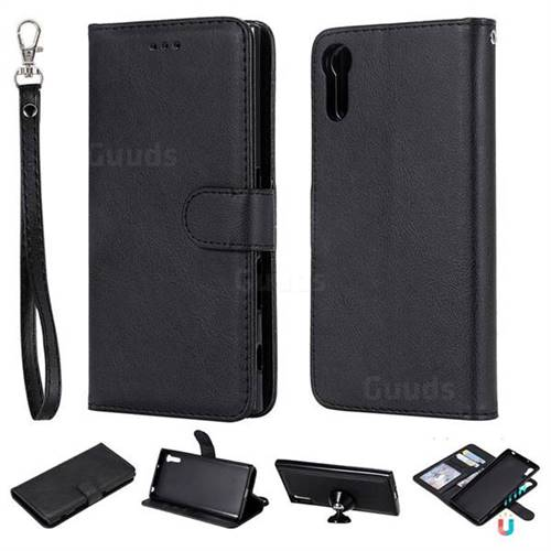 Retro Greek Detachable Magnetic PU Leather Wallet Phone Case for Sony Xperia XZ XZs - Black