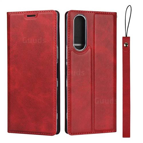 Calf Pattern Magnetic Automatic Suction Leather Wallet Case for Sony Xperia XZ XZs - Red