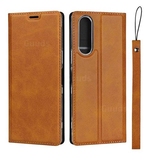 Calf Pattern Magnetic Automatic Suction Leather Wallet Case for Sony Xperia XZ XZs - Brown