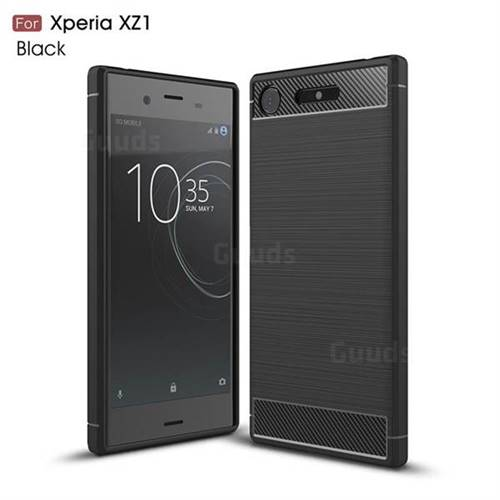 Luxury Carbon Fiber Brushed Wire Drawing Silicone TPU Back Cover for Sony Xperia XZ1 (Black)