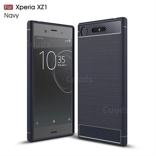 Luxury Carbon Fiber Brushed Wire Drawing Silicone TPU Back Cover for Sony Xperia XZ1 (Navy)