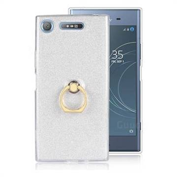 Luxury Soft TPU Glitter Back Ring Cover with 360 Rotate Finger Holder Buckle for Sony Xperia XZ1 - White