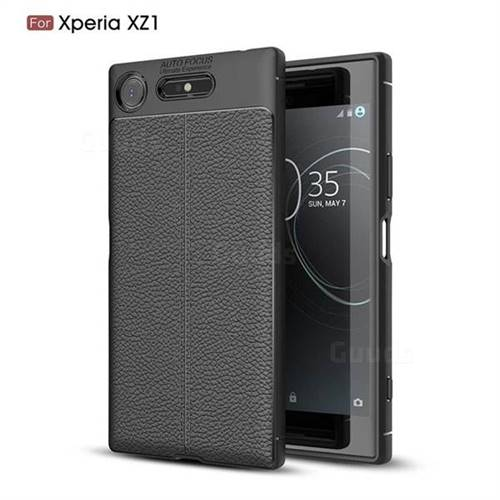 Luxury Auto Focus Litchi Texture Silicone TPU Back Cover for Sony Xperia XZ1 - Black