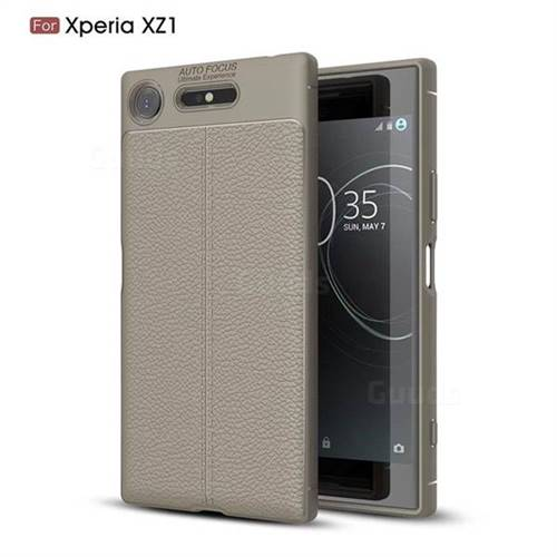 Luxury Auto Focus Litchi Texture Silicone TPU Back Cover for Sony Xperia XZ1 - Gray