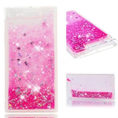 Dynamic Liquid Glitter Quicksand Sequins TPU Phone Case for Sony Xperia XZ1 - Rose
