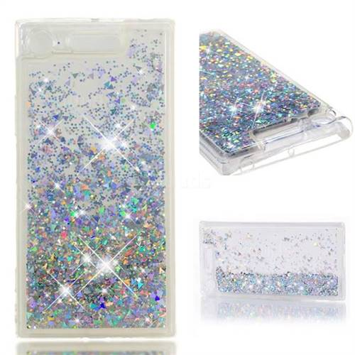 Dynamic Liquid Glitter Quicksand Sequins TPU Phone Case for Sony Xperia XZ1 - Silver