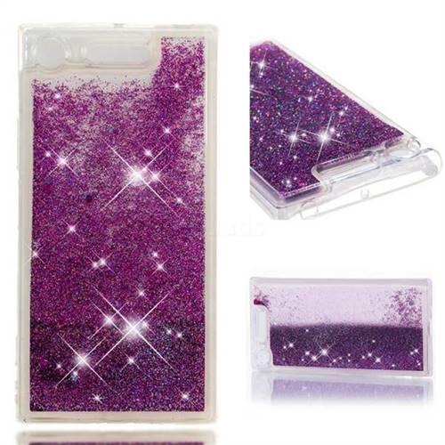 Dynamic Liquid Glitter Quicksand Sequins TPU Phone Case for Sony Xperia XZ1 - Purple