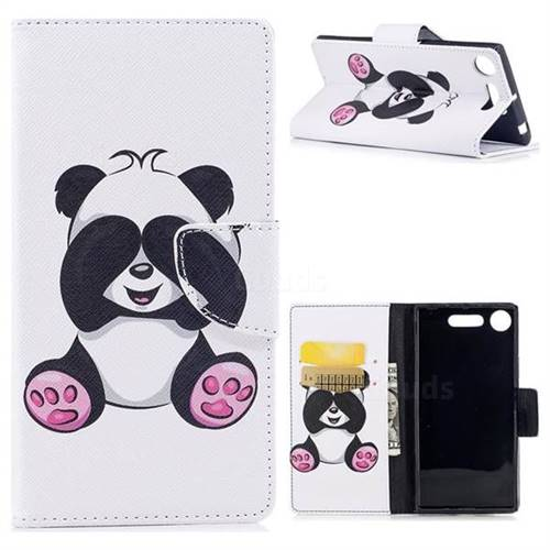 Lovely Panda Leather Wallet Case for Sony Xperia XZ1