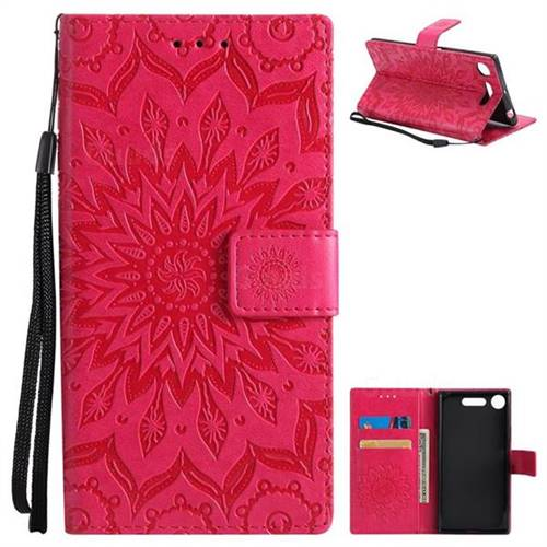 Embossing Sunflower Leather Wallet Case for Sony Xperia XZ1 - Red