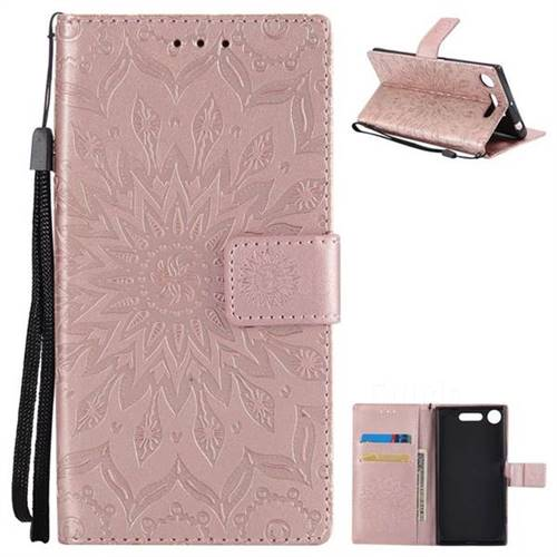 Embossing Sunflower Leather Wallet Case for Sony Xperia XZ1 - Rose Gold