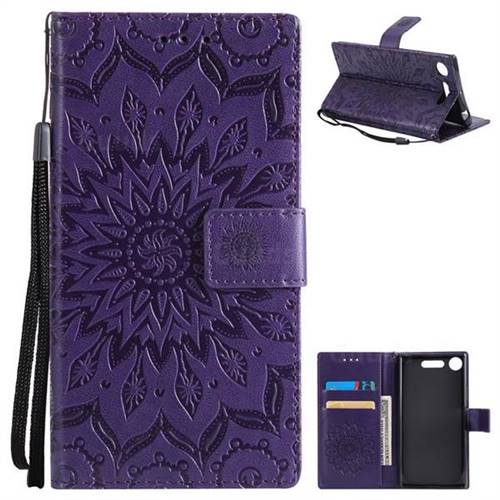 Embossing Sunflower Leather Wallet Case for Sony Xperia XZ1 - Purple