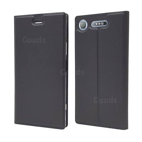 Ultra Slim Card Magnetic Automatic Suction Leather Wallet Case for Sony Xperia XZ1 - Star Grey