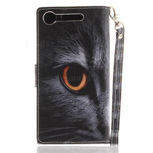 premium selection 4e655 4a0ac Cat Eye Hand Strap Leather Wallet Case for Sony Xperia XZ1