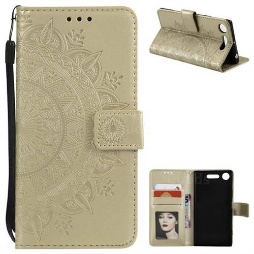 Intricate Embossing Datura Leather Wallet Case for Sony Xperia XZ1 - Golden