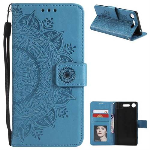 Intricate Embossing Datura Leather Wallet Case for Sony Xperia XZ1 - Blue