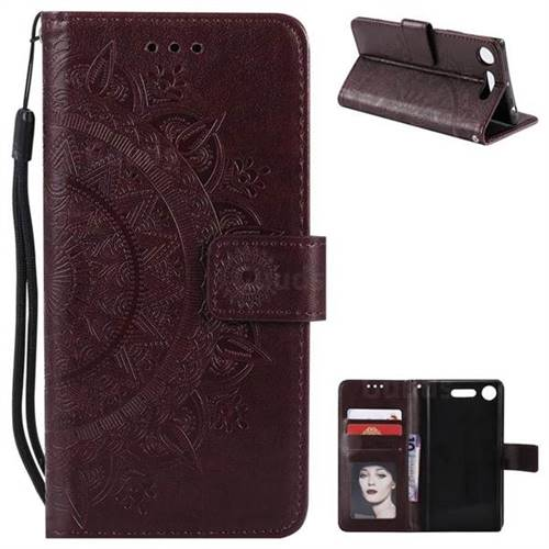 Intricate Embossing Datura Leather Wallet Case for Sony Xperia XZ1 - Brown
