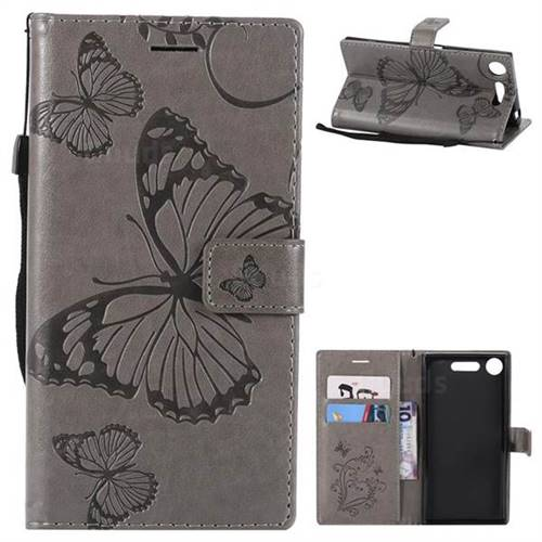 Embossing 3D Butterfly Leather Wallet Case for Sony Xperia XZ1 - Gray