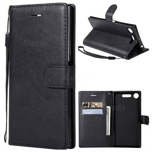 Retro Greek Classic Smooth PU Leather Wallet Phone Case for Sony Xperia XZ1 - Black