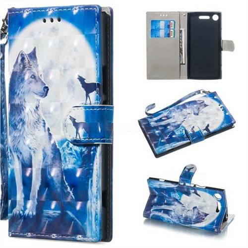 Ice Wolf 3D Painted Leather Wallet Phone Case for Sony Xperia XZ1