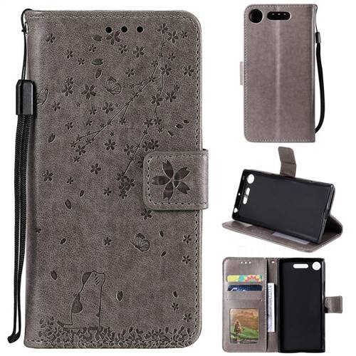 Embossing Cherry Blossom Cat Leather Wallet Case for Sony Xperia XZ1 - Gray