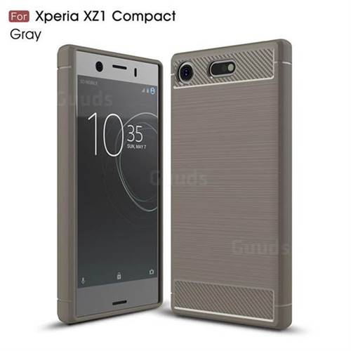Luxury Carbon Fiber Brushed Wire Drawing Silicone TPU Back Cover for Sony Xperia XZ1 Compact (Gray)