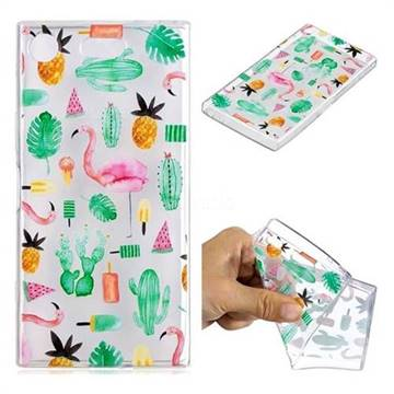 Cactus Flamingos Super Clear Soft TPU Back Cover for Sony Xperia XZ1 Compact