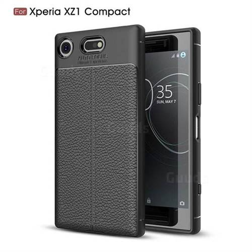 Luxury Auto Focus Litchi Texture Silicone TPU Back Cover for Sony Xperia XZ1 Compact - Black