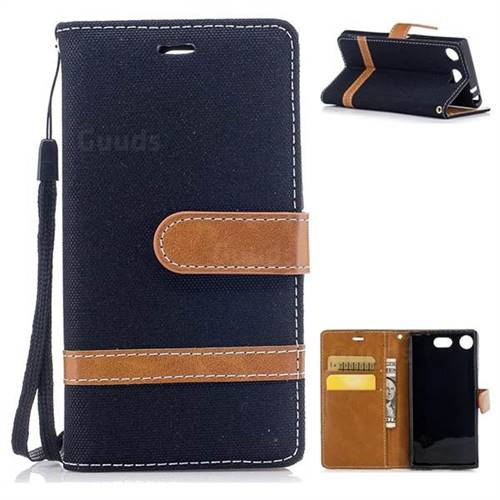 Jeans Cowboy Denim Leather Wallet Case for Sony Xperia XZ1 Compact - Black