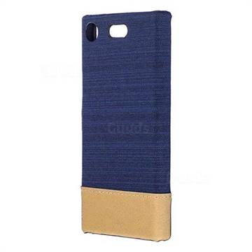 Canvas Cloth Coated Plastic Back Cover for Sony Xperia XZ1 Compact - Dark Blue