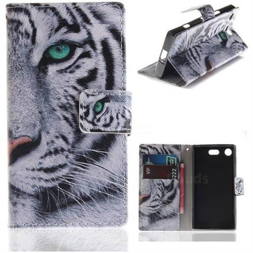 White Tiger PU Leather Wallet Case for Sony Xperia XZ1 Compact