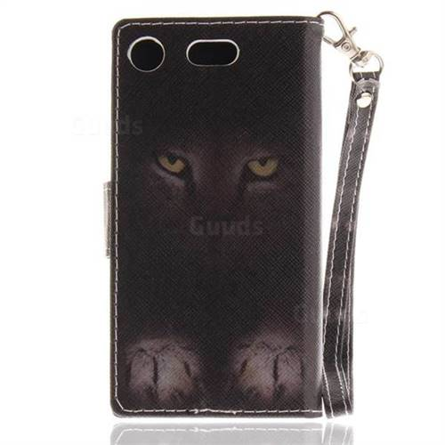 newest 721f5 a761d Mysterious Cat Hand Strap Leather Wallet Case for Sony Xperia XZ1 Compact