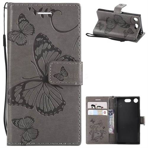 Embossing 3D Butterfly Leather Wallet Case for Sony Xperia XZ1 Compact - Gray
