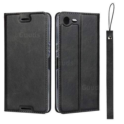 Calf Pattern Magnetic Automatic Suction Leather Wallet Case for Sony Xperia XZ1 Compact - Black