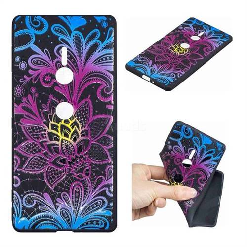 Colorful Lace 3D Embossed Relief Black TPU Cell Phone Back Cover for Sony Xperia XZ2