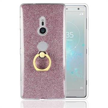 Luxury Soft TPU Glitter Back Ring Cover with 360 Rotate Finger Holder Buckle for Sony Xperia XZ2 - Pink