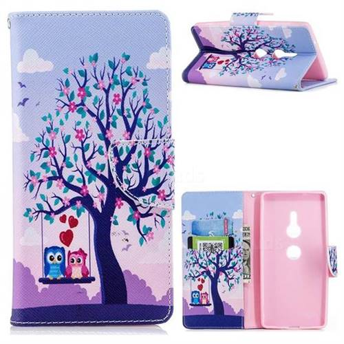 Tree and Owls Leather Wallet Case for Sony Xperia XZ2